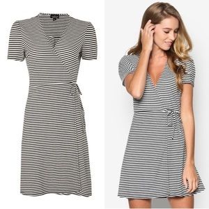 Top Shop Striped Wrap Dress